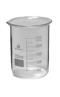 Glass beaker low 0250mL  - Box of 8
